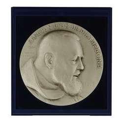 Médaille du Padre Pio (finition argent) - 7 cm