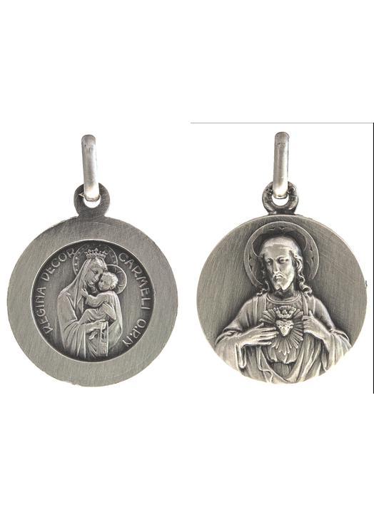 Médaille du Scapulaire du Mont-Carmel argentée - 18 mm