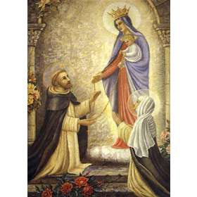 Reina del Santísimo Rosario con santo Domingo