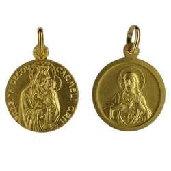 Médaille du Scapulaire du Mont-Carmel dorée - 18 mm