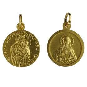 Medalla Escapulario de Ntra. Sra. del Carmen dorada - 18 mm