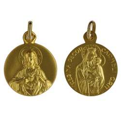 Scapular medal solid gold 18-carat - 16 mm