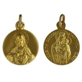 Medalla Escapulario oro macizo 18 quilates - 16 mm
