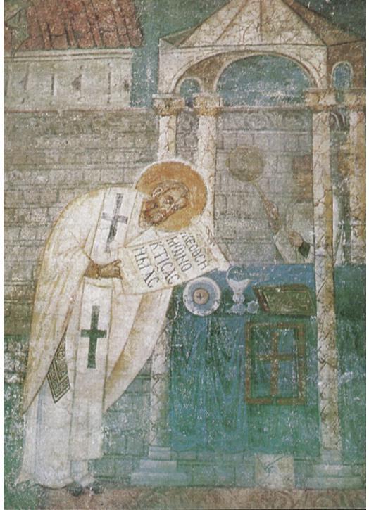 Saint Basil saying Mass