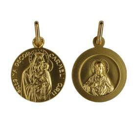 Scapular medal gold plated - 18 mm