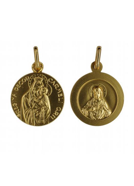 Médaille du scapulaire plaqué or - 18 mm