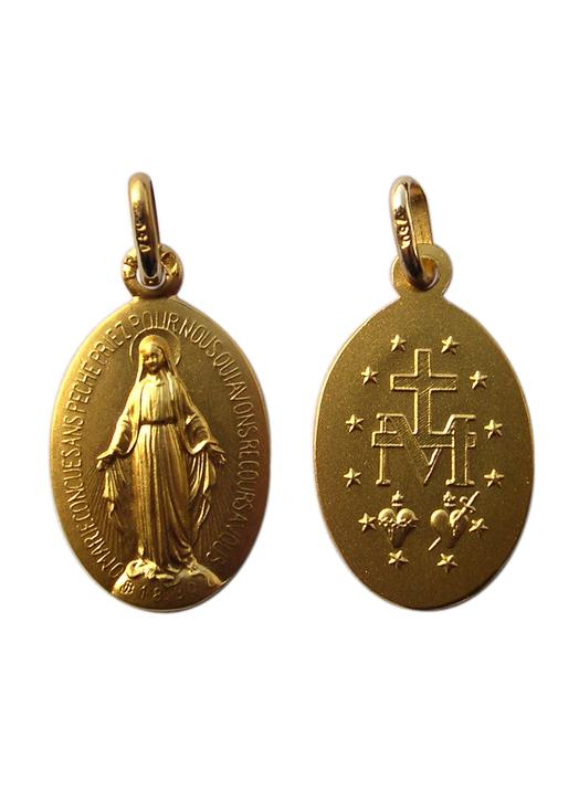 Miraculous medal, solid gold - 18 mm