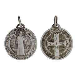 Medaille van Sint-Benedictus verzilverd metaal - 24 mm