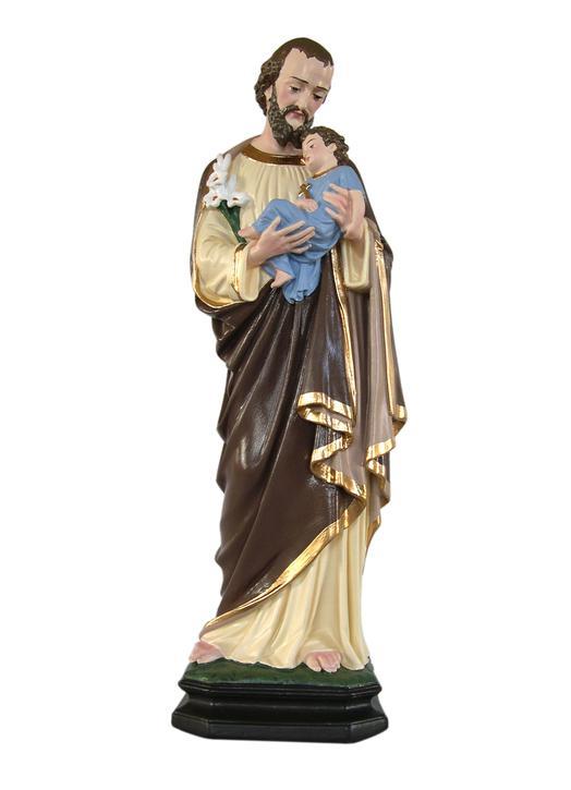 Statue de saint Joseph, polychrome 40 cm (Vue de face)