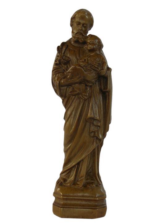 Statue de saint Joseph, bois clair 15 cm (Vue de face)