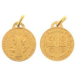 Médaille de Saint Benoît, plaqué or - 18 mm