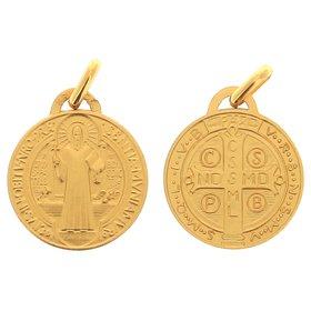 Medalla de San Benito, chapada de oro - 18 mm