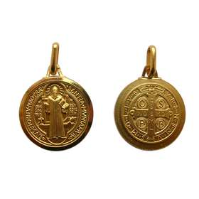 Medal of Saint Benedict, gold plated metal - 18 mm