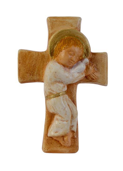 El Niño Jesús acostado sobre la cruz (polícromo), 12,3 cm (Vue de face)