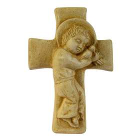 El Niño Jesús acostado sobre la cruz(patinado), 12,3 cm  (Vue de face)
