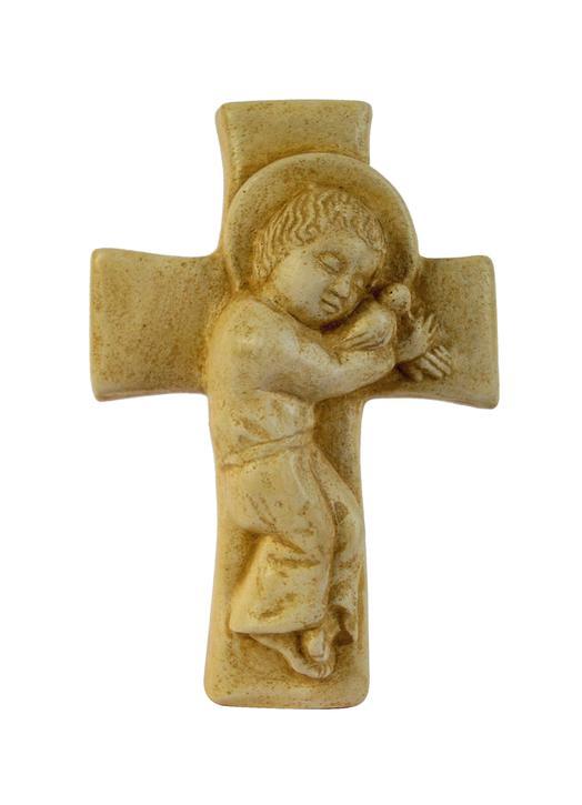 Enfant-Jésus sur croix (patiné), 12,3 cm (Vue de face)