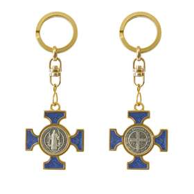 Enamel Saint Benedict keychain