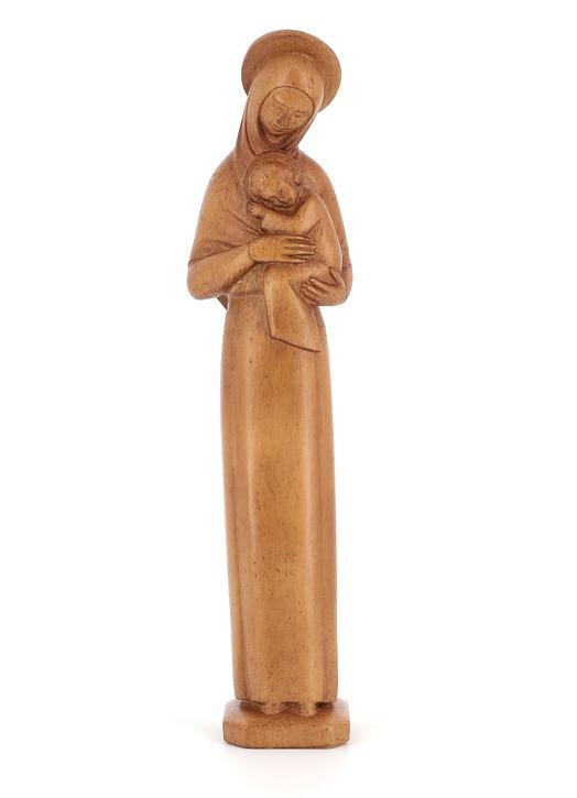 Statue de la Vierge Mère auréolée en bois clair, 20 cm (Vue de face)