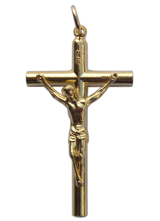 Cruz colgante dorada