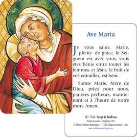 Carte-prière Vierge de Tendresse avec l'Ave Maria (Recto-verso)