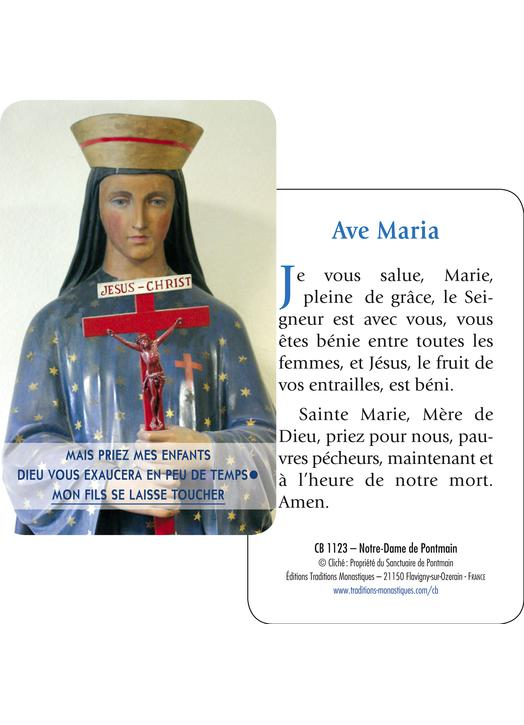 Carte-prière Notre-Dame de Pontmaint (Recto-verso)