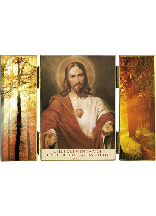 Triptico : El Sagrado Corazón y luz de otoño (Réf. TRT146)