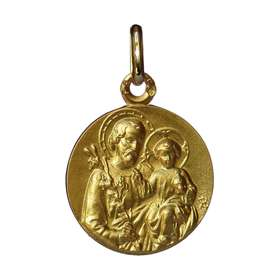 Saint Joseph gold medal solid gold 18 carat - 16 mm