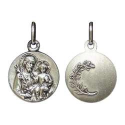 Medalla de San José plata maciza - 16 mm