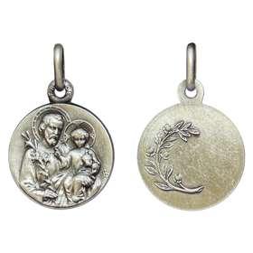 Médaille de saint Joseph, métal argenté - 16 mm