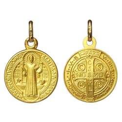Médaille de saint Benoît or massif 18 carats - 16 mm