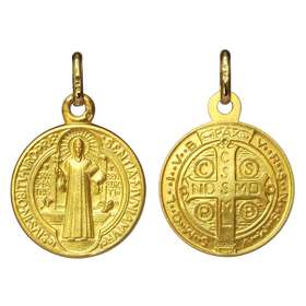 Medalla de San Benito oro macizo 18 quilates - 16 mm