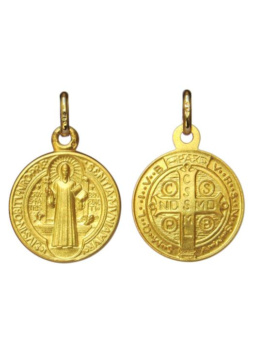 Medal of Saint Benedict solid gold 18-carat - 16 mm