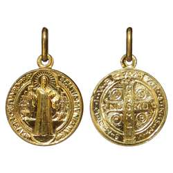 Medal of Saint Benedict gold plated - 16 mm