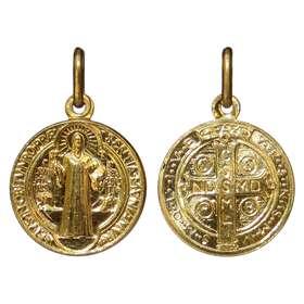Medalla de San Benito dorada - 16 mm