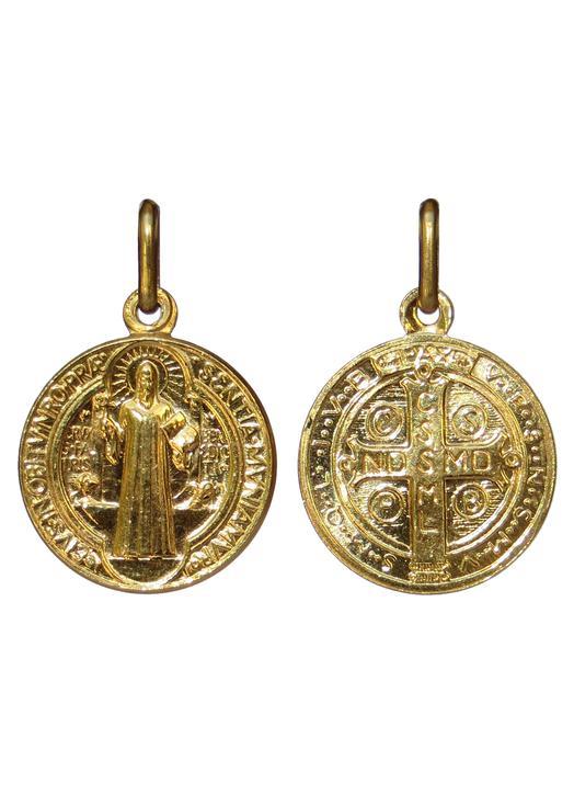 Vente médaille de saint Benoît dorée - 16 mm