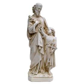 Statue de saint Joseph avec Jésus à ses pieds, 30 cm (Vue de face)