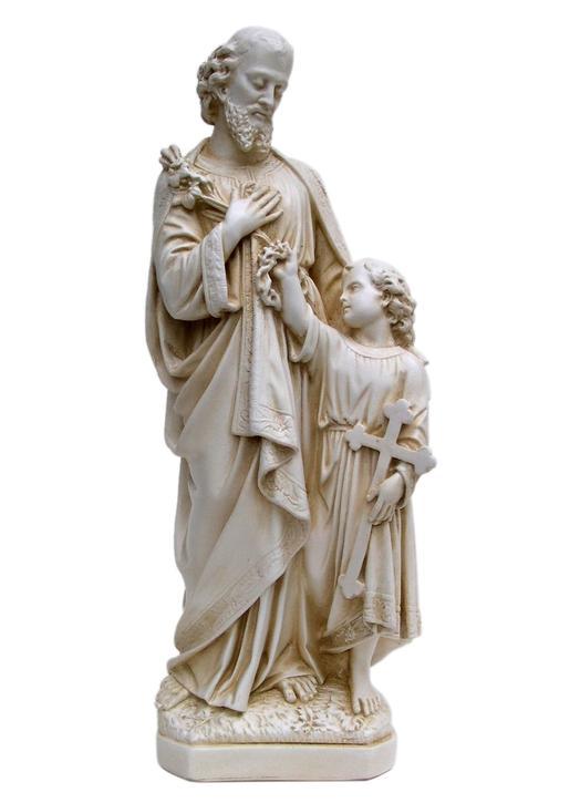 Saint Joseph end Jesus  with his feet, 30 cm (Vue de face)