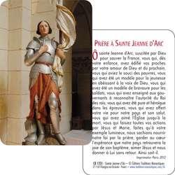 Carte-prière Sainte Jeanne d'Arc (Recto-verso)