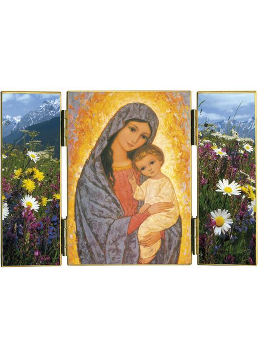Triptico La Virgen María Con El Niño Jesús Réf Trt140b