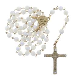 White mother-of-pearl Rosary (Chapelet en nacre)