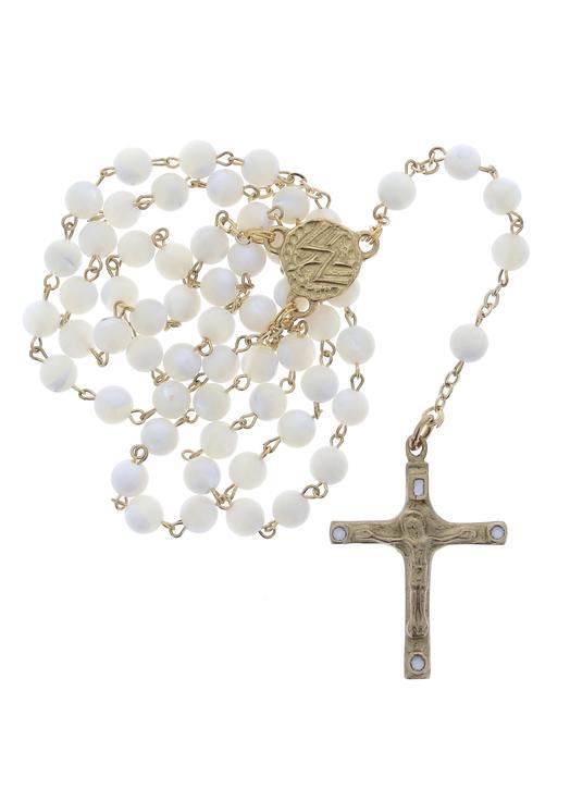 White mother-of-pearl Rosary (Chapelet en nacre)
