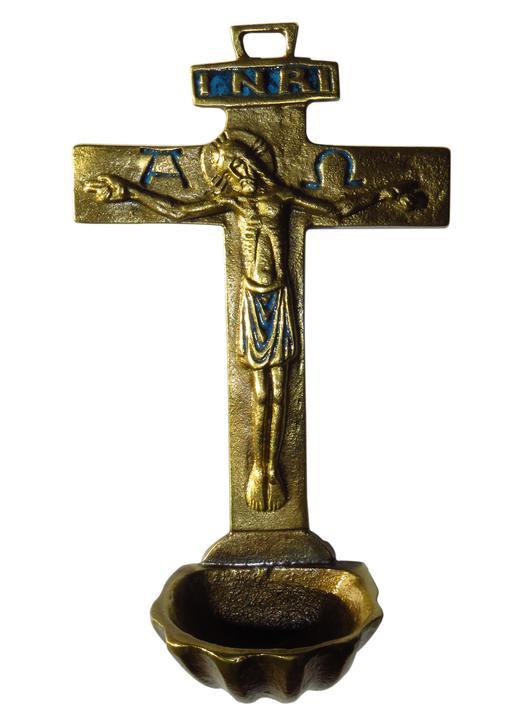 Crucifix-stoup out of enamelled bronze, 16 cm (Vue de face)