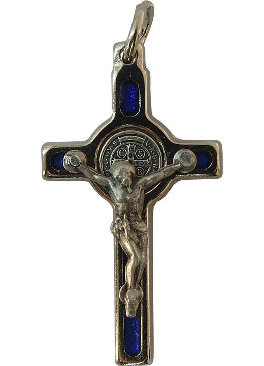 Croix-pendentif de saint Benoît - bleu