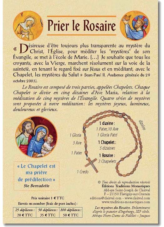 Dépliant couleurs sur les 20 mystères du rosaire.