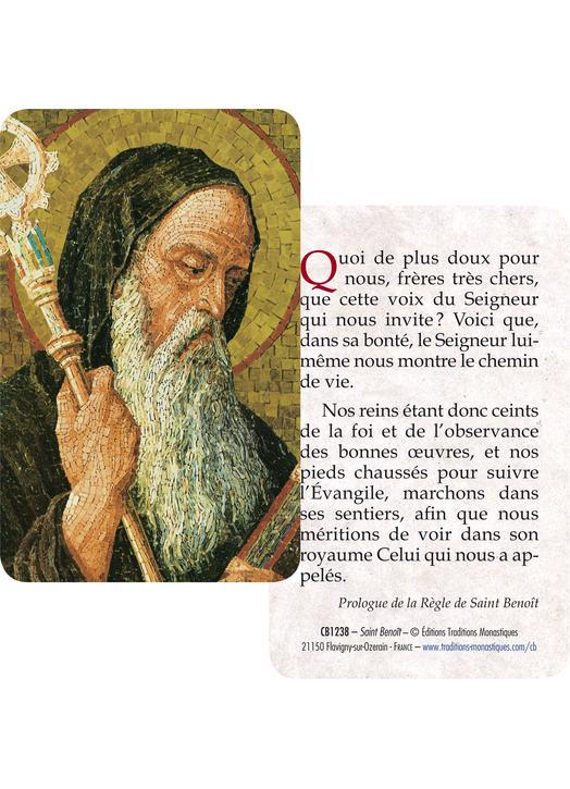 Card-prayer Saint Benedict (Recto-Verso)