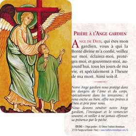 Carte-prière de L'Ange Gardien (Recto-Verso)