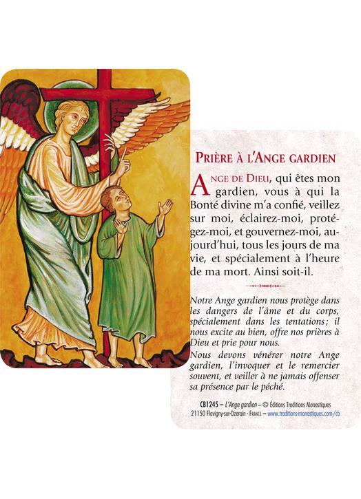 Tarjeta-rezo del Angel de la Guarda (Recto-Verso)