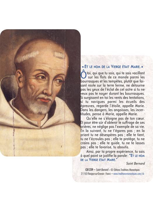 Card-prayer Saint Bernard (Recto-Verso)