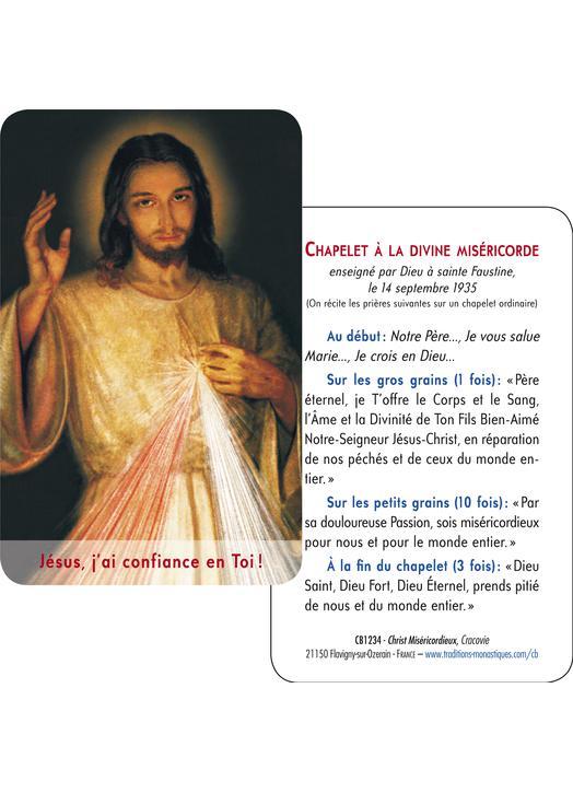 Carte-prière Christ Miséricordieux de Cracovie (gros plan et tutoiement) (Recto-Verso)