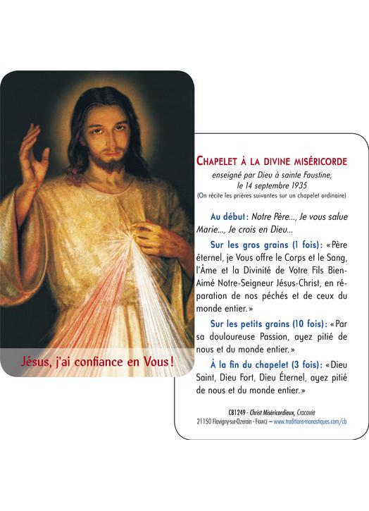 Carte-prière Christ Miséricordieux de Cracovie (gros plan et vouvoiement) (Recto-Verso)